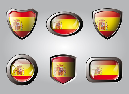 Spain set shiny buttons and shields of flag with metal frame - vector illustration. Isolated abstract object. illustration