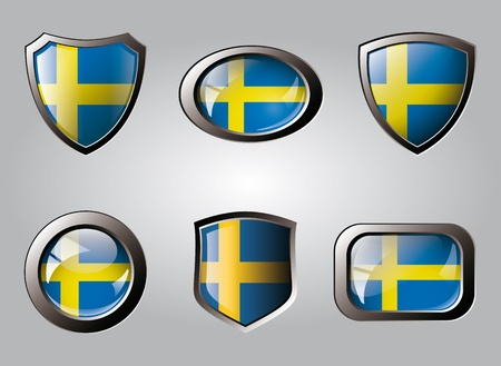 Sweden set shiny buttons and shields of flag with metal frame - vector illustration. Isolated abstract object. illustration