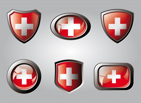 swiss flag: Swiss set shiny buttons and shields of flag with metal frame - vector illustration. Isolated abstract object. Stock Photo