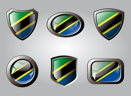 Tanzania set shiny buttons and shields of flag with metal frame - vector illustration. Isolated abstract object. illustration
