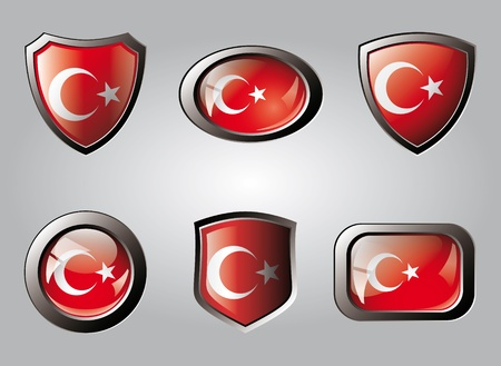 Turkey set shiny buttons and shields of flag with metal frame - vector illustration. Isolated abstract object. Stock Illustration - 9461809
