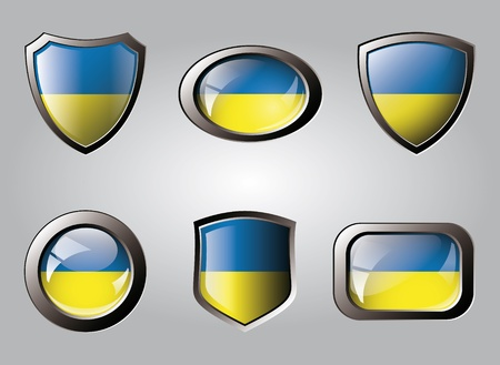Ukraine set shiny buttons and shields of flag with metal frame - vector illustration. Isolated abstract object. illustration