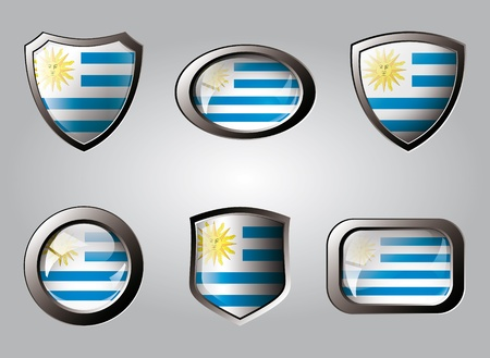 Uruguay set shiny buttons and shields of flag with metal frame - vector illustration. Isolated abstract object. illustration