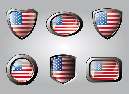 USA America set shiny buttons and shields of flag with metal frame - vector illustration. Isolated abstract object. illustration