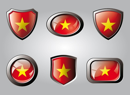 Vietnam set shiny buttons and shields of flag with metal frame - vector illustration. Isolated abstract object. illustration