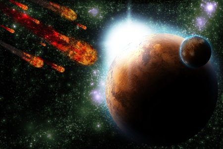 Asteroid and earth planet on starfield abstract background. Illustration meteor impact. Stock Illustration - 9920918