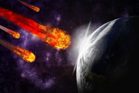warming: Asteroid and earth planet on starfield abstract background. Illustration meteor impact.