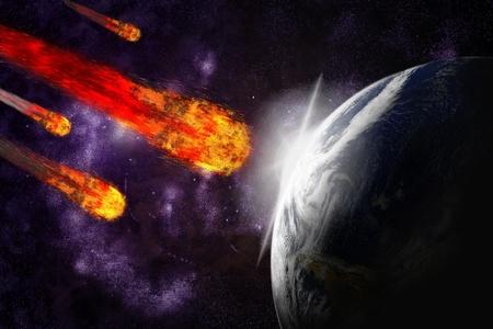 impacts: Planeta asteroide y la tierra sobre fondo abstracto starfield. Impacto de meteorito de ilustraci�n.