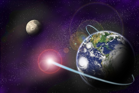 Technology digital communication in binary system on planet Earth on starfield background.  Stock Photo