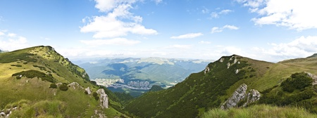 Panorama background in Carpathians. Beautiful mountains and landscape in Romania. Stock Photo - 10235855