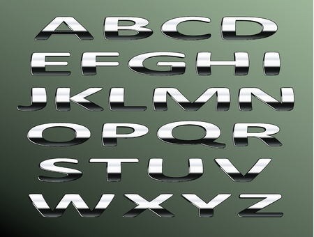 chrome alphabet.Isolated abstract letters on color background. photo