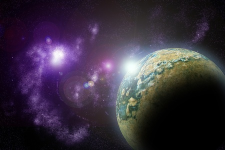 Planets in deep dark space. Abstract illustration of universe. Stock Illustration - 11720886