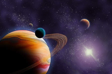 Planets in deep dark space. Abstract illustration of universe. Stock Photo