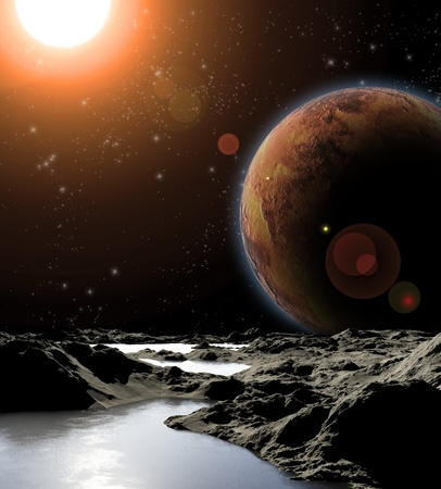 Abstract image of a planet with water. Find new sources and technologies. The future of travel to distant planets. Stock Photo - 11720900