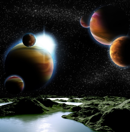 fantasy fiction: Abstract image of a planet with water. Find new sources and technologies. The future of travel to distant planets. Stock Photo