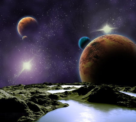 Abstract image of a planet with water. Find new sources and technologies. The future of travel to distant planets. photo