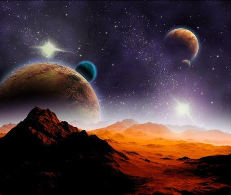 Abstract background of deep space. In the far future travel. New technologies and resources. photo