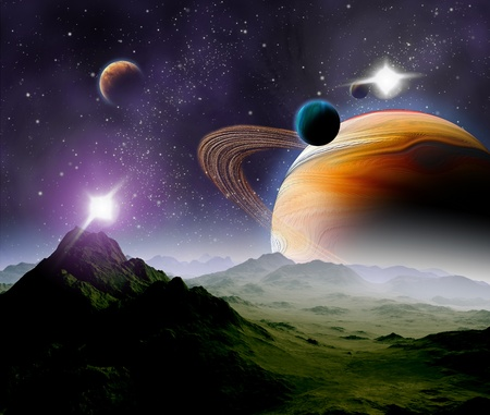 fantasy fiction: Abstract background of deep space. In the far future travel. New technologies and resources. Stock Photo