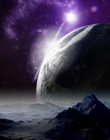 estrella de la vida: Resumen de fondo del espacio profundo. En el viaje mucho futuro. Las nuevas tecnolog�as y recursos. Foto de archivo