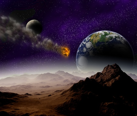 Attack of the asteroid on the planet in the universe  Abstract illustration of a meteor impact
