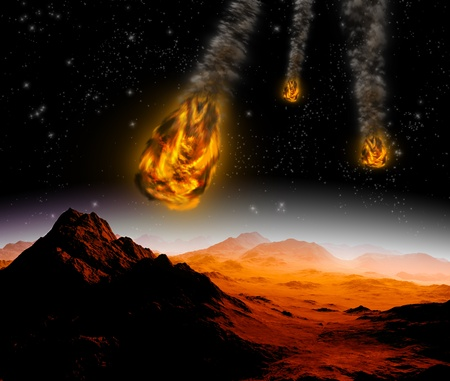 armageddon: Attack of the asteroid on the planet in the universe  Abstract illustration of a meteor impact