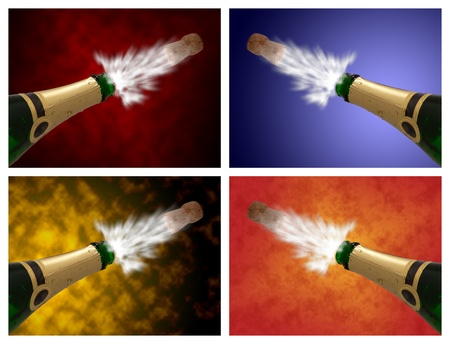 popping cork: Open a champagne bottle against different colorful abstract background  Stock Photo