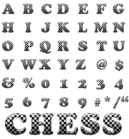 Exclusive collection letters with chess square on white background. White and black illustrated chess square letters. photo