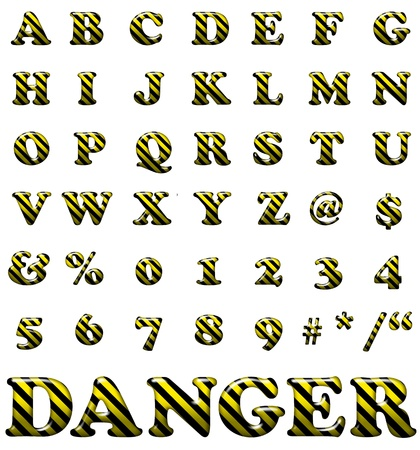 Exclusive collection letters with danger stripes on white background. Yellow and black illustrated danger letters. Stock Photo - 12781057