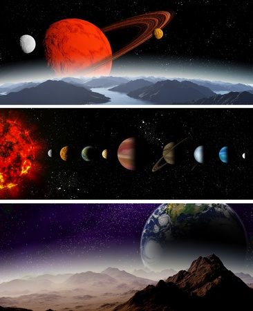 jupiter light: Illustrated diagram showing the order of planets in our solar system. Abstract illustration of planets in deep space.
