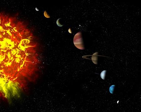Illustré diagramme montrant l'ordre des planètes de notre système solaire. Résumé illustration des planètes dans l'espace lointain. Banque d'images - 12781059