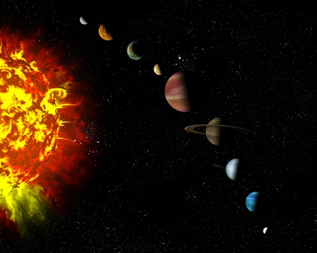 Illustrated diagram showing the order of planets in our solar system. Abstract illustration of planets in deep space. Stock Illustration - 12781059