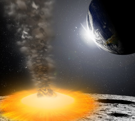 apocalypse: Attack of the asteroid on the planet in the universe. Abstract illustration of a meteor impact.