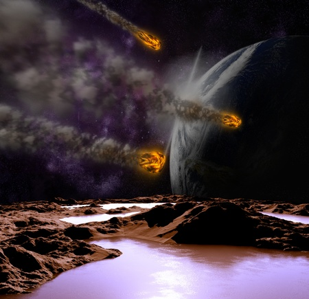 Attack of the asteroid on the planet in the universe. Abstract illustration of a meteor impact. Stock Illustration - 12781068