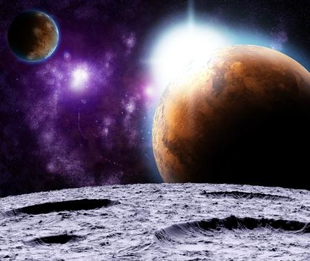 the universe: Vista del Universo desde la superficie de la luna. Resumen ilustraci�n de las regiones distantes.