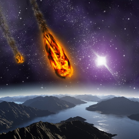 Attack of the asteroid on the planet in the universe. Abstract illustration of a meteor impact. Stock Illustration - 12781082
