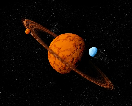 gravitational: Planet with ring and moons. Abstract background of deep space. In the far future travel. New technologies and resources.