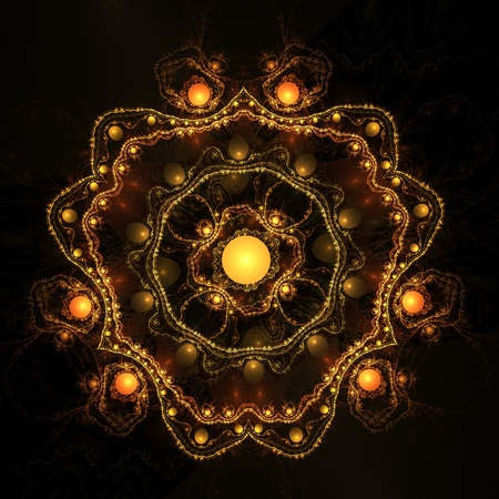 Abstract color image on a black background. Curves and ornaments futuristic design. Stock Photo - 12781116