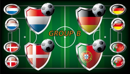 Euro 2012, Group B - Netherlands, Denmark, Germany, Portugal  Participation of teams at the biggest European football competition  Easy to use and modify  photo
