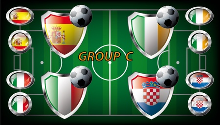 Euro 2012, Group C - Spain, Italy, Ireland, Croatia  Participation of teams at the biggest European football competition  Easy to use and modify  photo