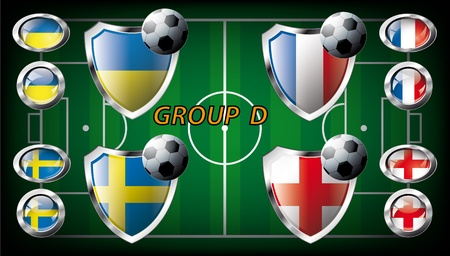 Euro 2012, Group D - Ukraine, Sweden, France, England  Participation of teams at the biggest European football competition  Easy to use and modify Stock Photo - 13524164