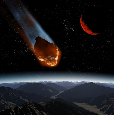 Attack of the asteroid on the planet in the universe. Abstract illustration of a meteor impact. Stock Illustration - 19033803