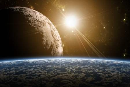 A view of planet earth, moon and sun. Abstract background of distant regions. New Age in the far travel and use of solar energy. Stock Photo - 19033847