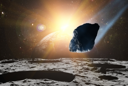 Attack of the asteroid on the planet in the universe. Abstract illustration of a meteor impact. Stock Illustration - 19033831