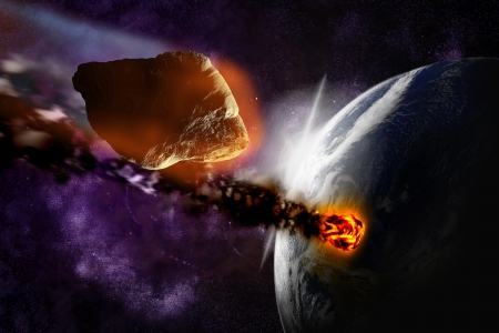 Attack of the asteroid on the planet in the universe. Abstract illustration of a meteor impact. Stock Illustration - 19033765