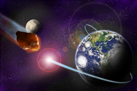 Attack of the asteroid on the planet in the universe. Abstract illustration of a meteor impact. Stock Illustration - 19033818