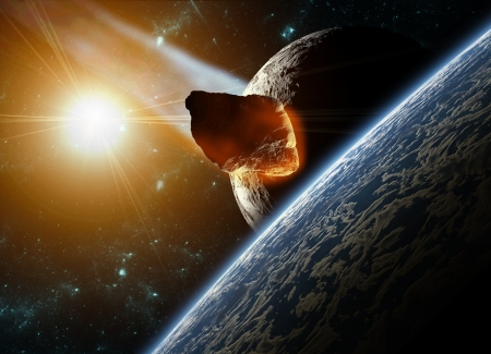 Attack of the asteroid on the planet in the universe. Abstract illustration of a meteor impact. Stock Illustration - 19033841