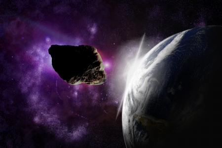 Attack of the asteroid on the planet in the universe. Abstract illustration of a meteor impact. Stock Illustration - 19033769