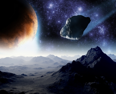collision: Attack of the asteroid on the planet in the universe. Abstract illustration of a meteor impact.