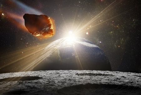 Attack of the asteroid on the planet in the universe. Abstract illustration of a meteor impact. Stock Illustration - 19033837