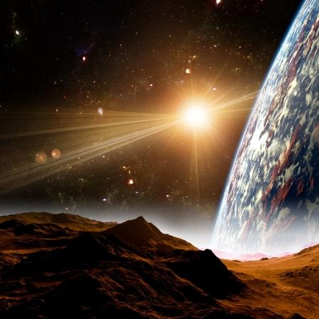 new age: Una vista de la tierra del planeta, la luna y el sol. Resumen de antecedentes de las regiones distantes. Nueva Era, en el extremo de viajes y el uso de la energ�a solar.